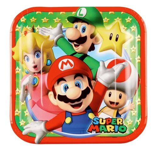 Super Mario & friends bordjes, 8 stuks